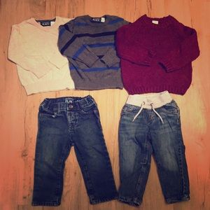 3 sweaters 2 pair jeans
